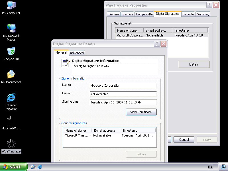 Figure 2: Valid signature on original WgaTray.exe
